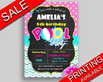 Pool Party Birthday Invitation Pool Party Birthday Party Invitation Pool Party Birthday Party Pool Party Invitation Girl birthday pool KDN9K