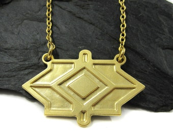 Unique Pendant Necklace, Bohemian Necklace, Tribal Necklace, Geometric Jewelry, Gold Statement Necklace, Edgy Necklace, Warrior Jewelry