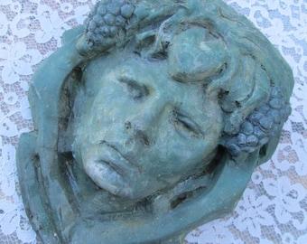 SALE-Wonderful Antique Lady Woman Wall Pocket-Yard Garden Patio Flower Holder