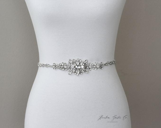 Bridal Belt, Silver crystal Bridal Belt, Bridal Sash, Wedding Belt, Wedding Sash Rhinestone prom belt