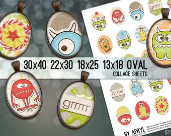 30x40 22x30 18x25 13x18  Oval Digital Collage Sheet Colorful Monsters Oval Digital Collage Images for Glass and Resin Pendants Cameos