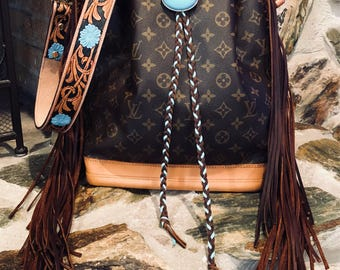 Authentic Fringed Louis Vuitton Noe GM