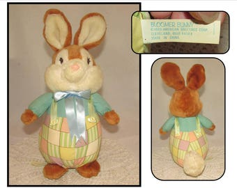 Vintage Stuffed Bunny Rabbit Toy, Bloomer Bunny by American Greetings, 1989