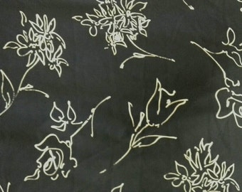 White Floral Print on Navy Blue Lightweight Polyester Fabric By the Yard X0581