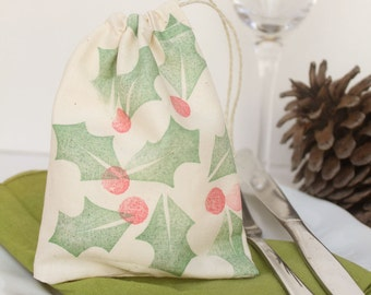 Drawstring calico Christmas Holly Favour Bags/ Santa sack. Hand stamped Christmas Holly design x 10 Small & big sizes.