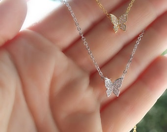 Tiny cubic zirconia butterfly necklace silver or gold plated gift