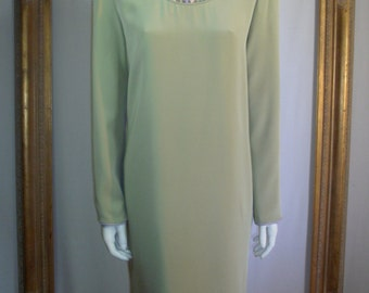 Vintage 1980's Helga Seafoam Green Dress - Size 12