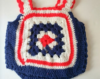 1970s Handmade Knitted Vest Girl's Vest Retro Girl's. Clothes