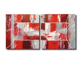 Gray white red burgundy diptych painting living room design