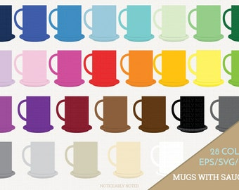 Coffee Mug Vector, Coffee Cup Clipart,  Kitchen SVG, Mug with Saucer Printable, Cup and Saucer Print and Cut (Design 11615)