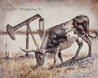 Oil and Gas, Cattle, Texas, Double Pumper, print of a pump-jack and a longhorn cow that have something in common, oil and gas