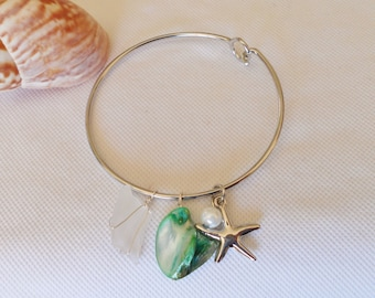 Bangle Bracelet, Sea Glass Bracelet, Green Bangle Bracelet, Starfish Charm Bracelet, Sea Shell Bracelet, Seafoam Green, Ocean Jewelry
