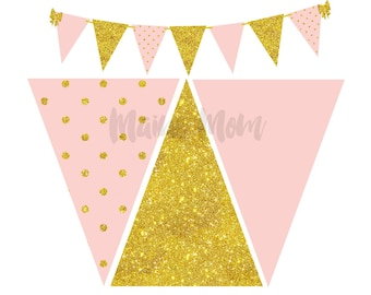 Blush Pink and Gold Glitter Printable Banner INSTANT DOWNLOAD Polka Dot Birthday Bridal Wedding Banner Bunting Baby Shower Decor