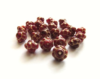 Deep Red Saturn Czech Glass Beads with Golden Inlay, 5mm - 50 pieces