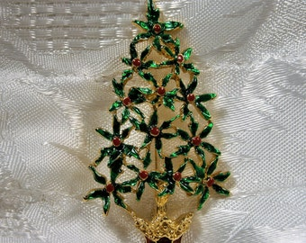 Christmas Tree Pin with Green Enamel Leaves and Red Crystals, Holiday Brooch, Seasonal Brooch, 1970's, Gold Tone Christmas Tree Brooch