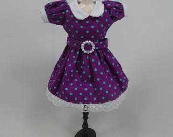 Blythe Outfit Handcrafted polka dots dress basaak doll # 12-40