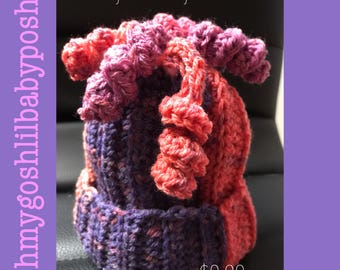 Curly Fries Baby Beanie; 0-3 mos
