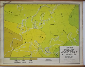 vintage european climate map from belgium winds and atmospheric pressure