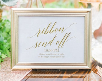 Gold Ribbon Send Off Sign - Printable Sign - Gold Streamer Send Off Sign - 5x7 and 8x10 inches - DIY Wedding Sign - Gold faux foil - #GD3423