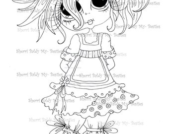INSTANT DOWNLOAD Digital Digi Stamps Big Eye Big Head Dolls Digi  My - Besties img906 Bestie By Sherri Baldy