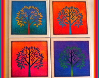 Coasters - Ceramic Tile - Set of 4 - Free U.S. Shipping - Trees - Gift for Mom - Housewarming Gift