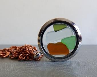 Lake Superior, Beach Glass Floating Locket