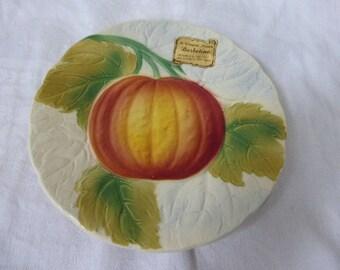 lot of two little pumpkin platters in slip of Saint Clement France, vintage