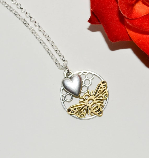 Honeycomb Bee and Heart Necklace