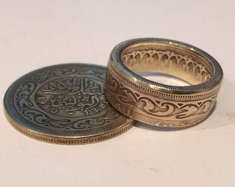 Tunisia, 100 Millimes Brass Coin Ring