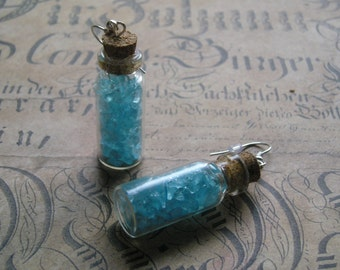 CRYSTAL Dangle Earrings Glass Vial Light Sky Blue