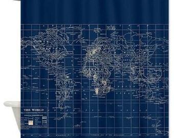 Navy Blue World Map Shower Curtain -  Dark, Travel, masculine