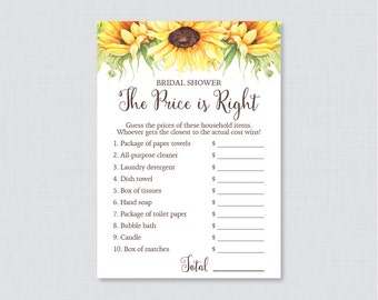Sunflower Bridal Shower Price is Right Game - Printable Rustic Bridal Shower Price is Right - Yellow Sunflower Bridal Shower 0016-A