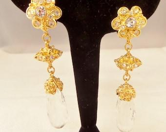 Earrings, Gold Dangle Earrings, Jose Maria Barrera Avon, Gift for Her, Holiday Splendor Avon, Clip On  Earrings, Crystal Earrings, Vintage