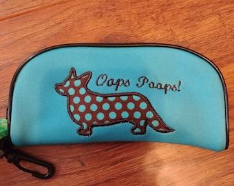 Cardigan Corgi Dog Poo Bag Holder Turquoise