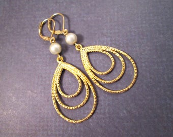 White Pearl Earrings, Gold Triple Loops, Long Dangle Earrings, FREE Shipping U.S.