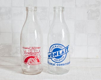 1 Vintage French Glass Milk Bottle 1L - Farmhouse Kitchen Decor - French Country Living - Cottage Decor
