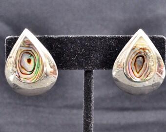 Vintage Sterling Silver Abalone Tear Drop Clip On Earrings