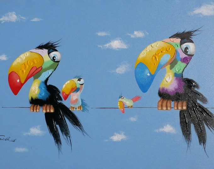 Modern Bird Painting Whimsical Parrot Birds Oil on Canvas Wall Art Beautiful Decor