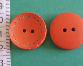 wooden button, set of 2, 25mm diameter, various colors