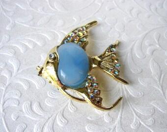 Vintage Figural Brooch Aurora Borealis Rhinestone Angelfish Pin Gold Fin Aquamarine Blue Cabochon Costume Jewelry Coat Hat Lapel Clip Animal