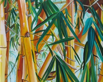 Yellow Bamboo print 8x10 from Kauai Hawaii green blue yellow