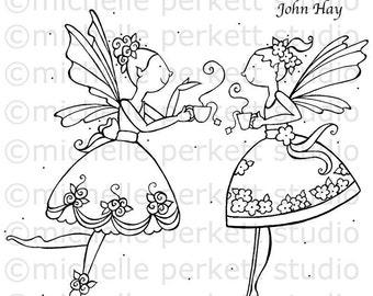 DIGITAL STAMP - Juniper and Ceciia Having Tea In The Garden
