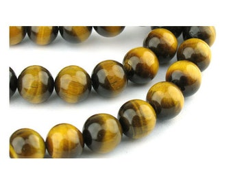 Strand 45+ Yellow/Brown Tiger Eye 8mm Plain Round Beads GS0373-3