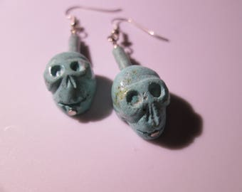 Faux Turquoise Skull and Bead Dangle Earring