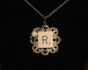 """Scrabble Tile """"Initial"""" Necklace - Antique Bronze with Glass Pearl. Gift for Writers. Upcycled."""