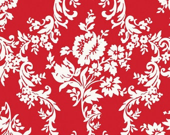 Riley blake Lost and found 2 red damask cotton fabric  C3692 A one yard cut