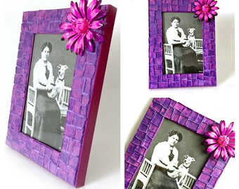 Purple Pink Mosaic Photo Frame, Purple Pink Mosaic Frame, 4 x 6 Photo Mosaic Frame, Pink Flower Purple Mosaic Picture Frame, 4x6 Frame
