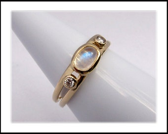 Moonstone and Diamond 14k Gold Ring