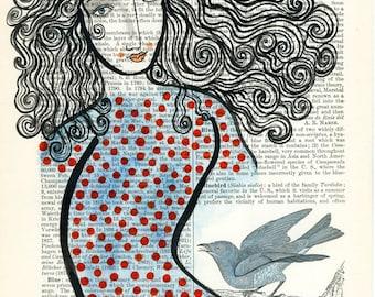 Bluebirds-Archival Art Print, Polka Dots, Blue and Orange, Bluebird, Bird Print