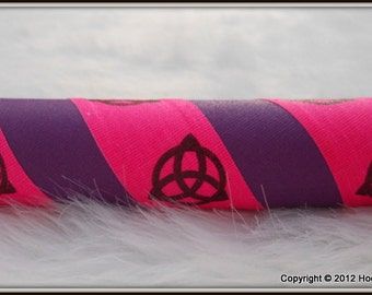 The 'TRIQUETRA Print' UltraGrip Hula Hoop - Design Your Own Triquetra Travel Hoop - UV Pink, Purple, or Yellow.